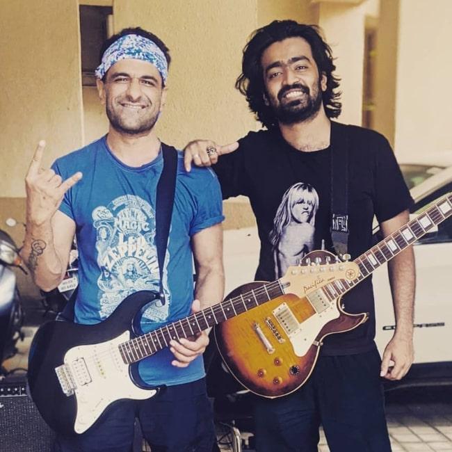 Eijaz Khan (Left) posing for a picture alongside his friend Melroy in September 2020