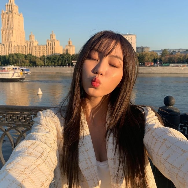 Eunbin as seen while pouting for a selfie in Moscow, Russia in August 2019