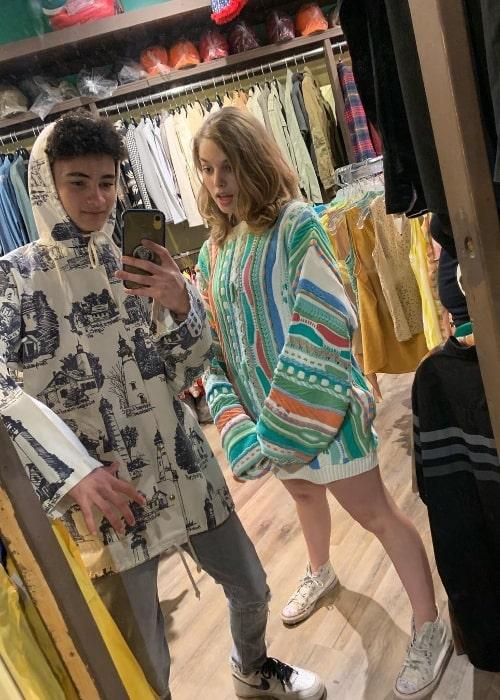 Faly Rakotohavana taking a mirror selfie with Teagan Croft at Kensington Market in June 2019