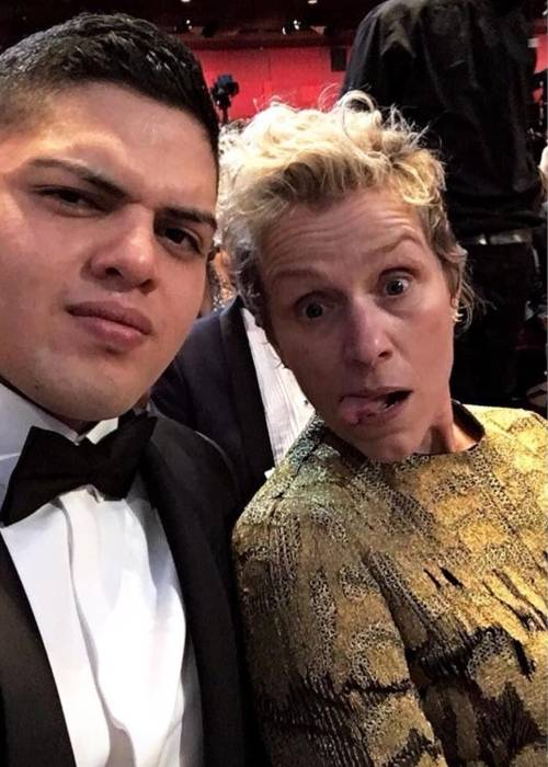 Frances as seen with her son Pedro at the 2018 Academy Awards