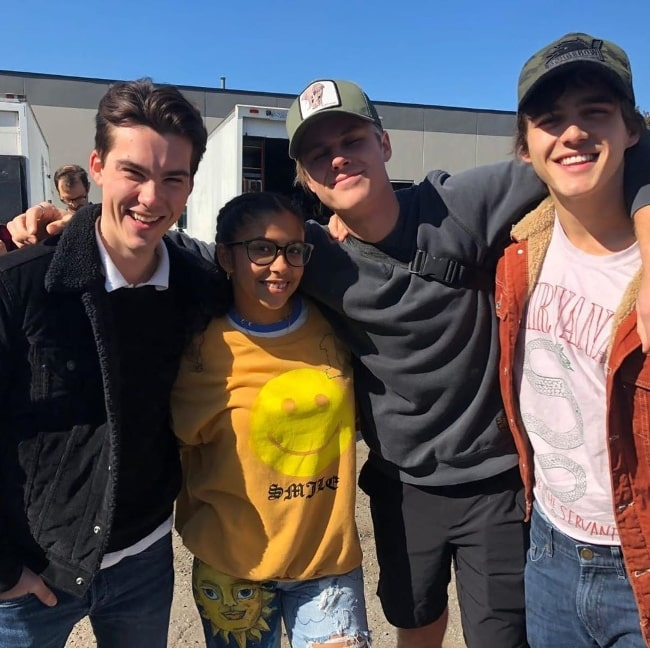 From Left to Right - Jeremy Shada, Madison Reyes, Owen Joyner, and Charlie Gillespie smiling for a picture in September 2020