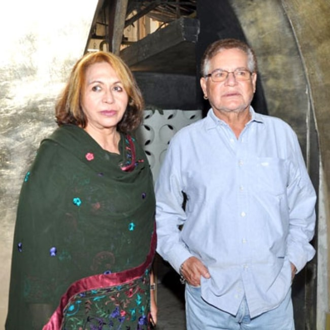 Helen and her husband Salim Khan as seen in a picture that was taken at the launch of Shatranj Napoli and Polpo Cafe & Bar in 2012