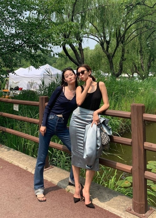 Hyun Ji Shin as seen in a picture that was taken with actress and model HoJung Lee in June 2020