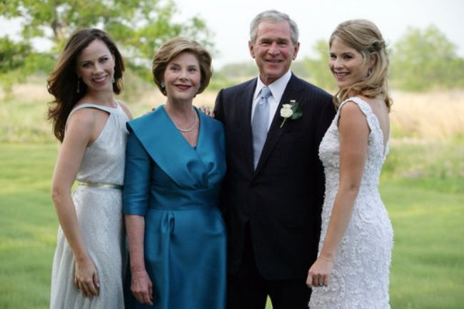 Jenna (extreme right) seen posing with her family on her wedding day in May 2008