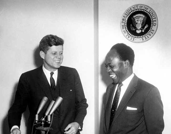 John F. Kennedy (Left) meeting with the President of the Republic of Ghana, Osagyefo Dr. Kwame Nkrumah, in March 1961