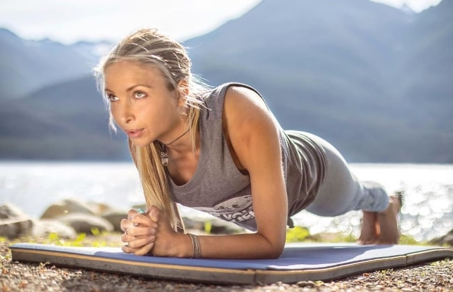 Juliana Spicoluk pictured while doing a plank in Kaslo, British Columbia in July 2020