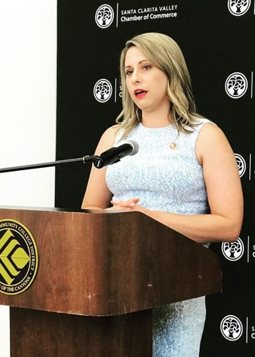 Katie Hill as seen while speaking during an event at Santa Clarita Valley Chamber in Santa Clarita, California in July 2019