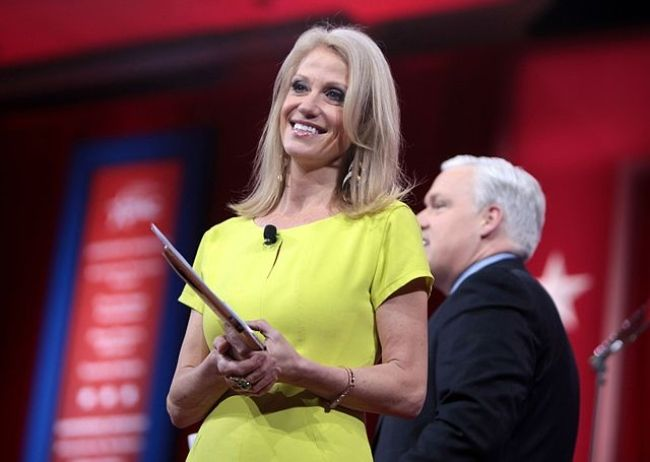 Kellyanne as seen speaking at the CPAC 2015 in Washington D.C
