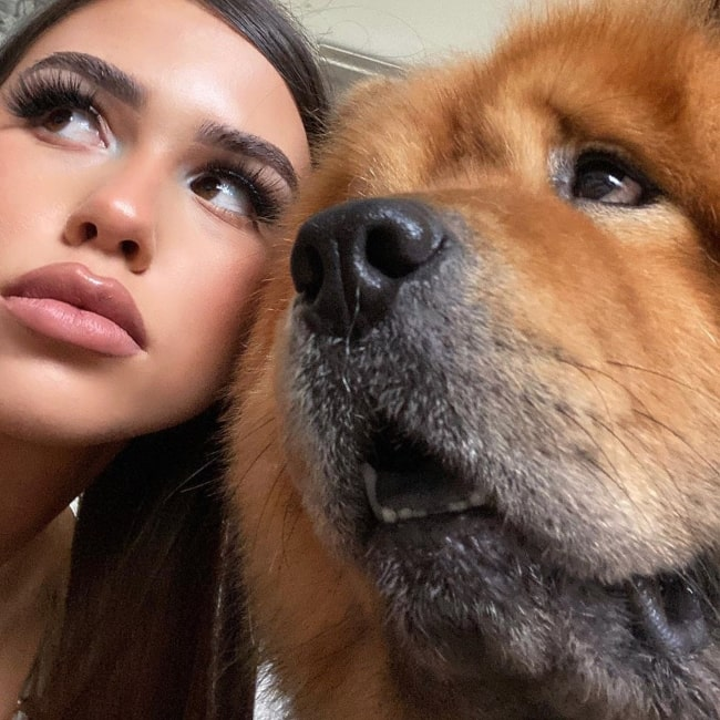 Leah Halton as seen in a selfie that was taken with one of her Chow's in Septmber 2020