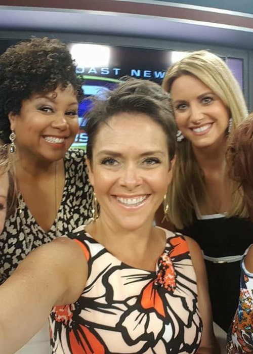 Leanza Cornett, in an Instagram selfie, with the co-hosts a talk show named The Chat, from August 2016