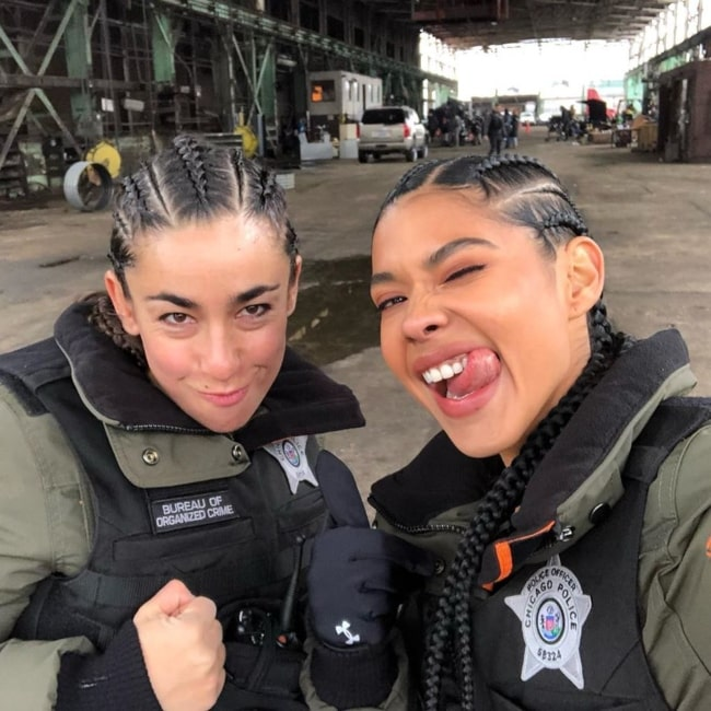 Lisseth Chavez as seen in a selfie that was taken with a co-star from Chicago P.D. in January 2020