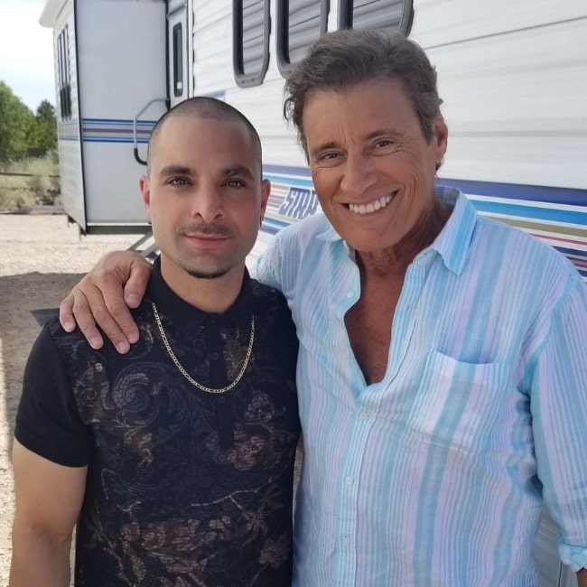 Michael Mando (Left) posing for a picture alongside Steven Bauer in June 2020