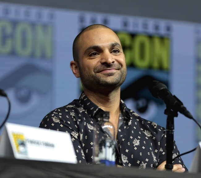 Michael Mando pictured while speaking at the 2018 San Diego Comic-Con International, for 'Better Call Saul', at the San Diego Convention Center in San Diego, California