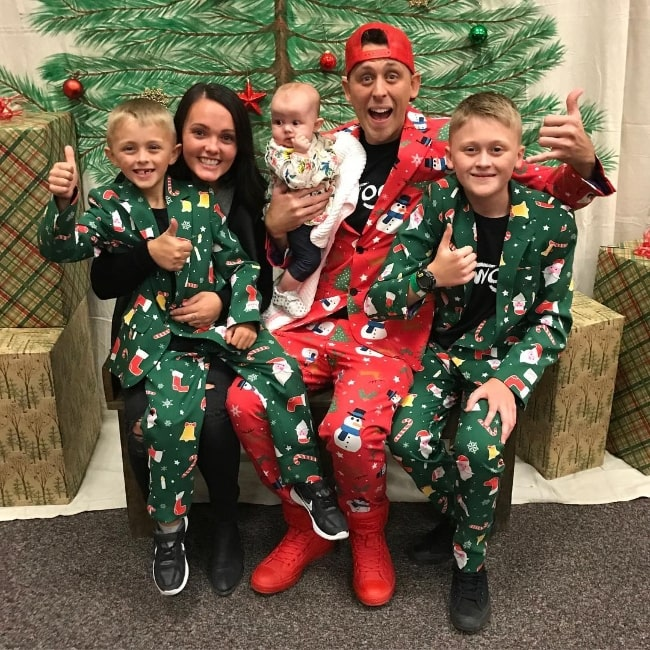 Noah Atwood (Corner Right) as seen in a Christmas picture with his family in December 2017