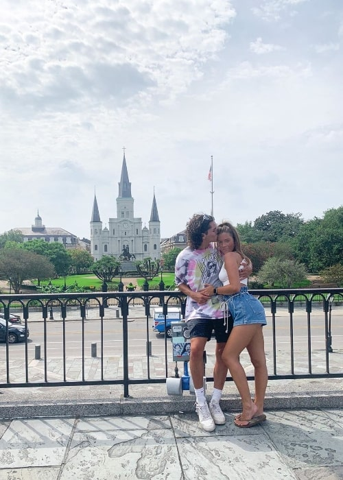 Noah Lomax posing for a picture alongside Brooke Gallagher in New Orleans, Louisiana in July 2020