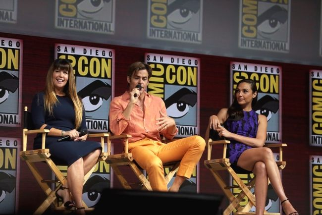 Patty Jenkins, Chris Pine, and Gal Gadot speaking at the 2018 San Diego Comic-Con International