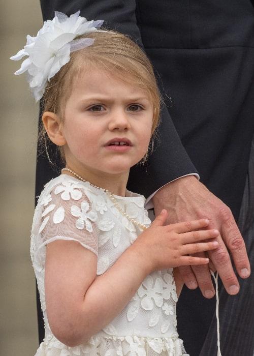 Princess Estelle, Duchess of Östergötland after the baptism of her brother Prince Oscar, Duke of Skåne at the Royal Chapel of Stockholm Palace in Stockholm, Sweden on May 27, 2016
