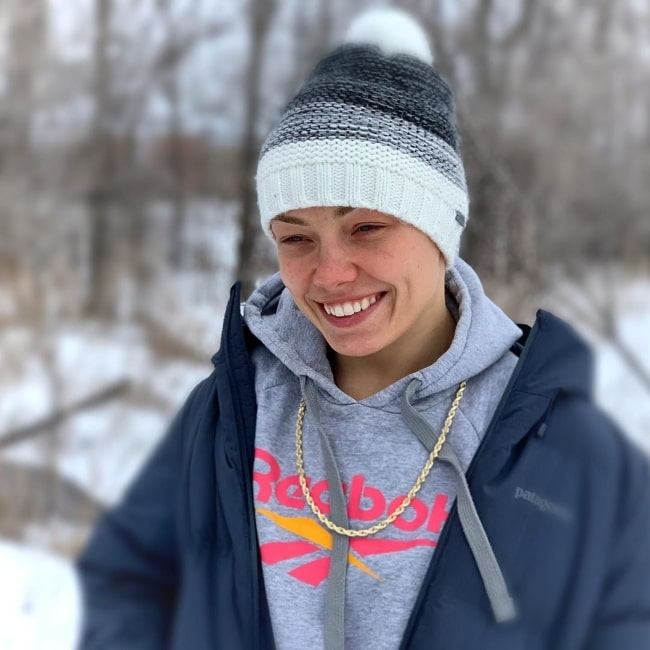 Rose Namajunas smiling for a picture in February 2020