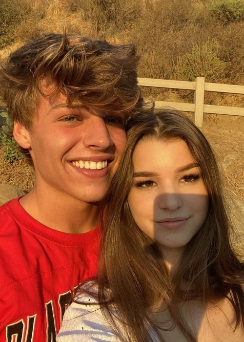 Sam Dezz in a selfie alongside Brooke Monk at Runyon Canyon Park in Los Angeles, California in October 2020