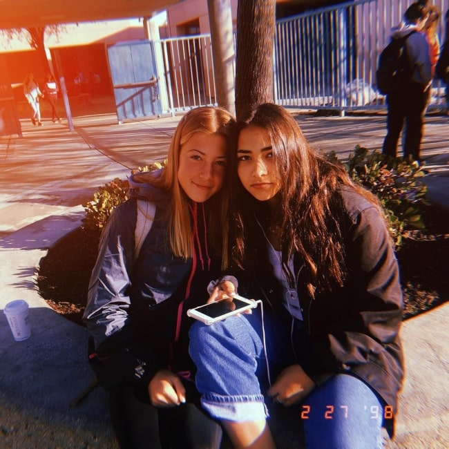 Sienna Mae Gomez as seen in a picture that was taken with a friend of hers named Jenna in school in February 2018