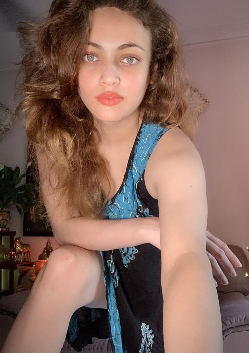 Sneha Ullal as seen while clicking a selfie in May 2020