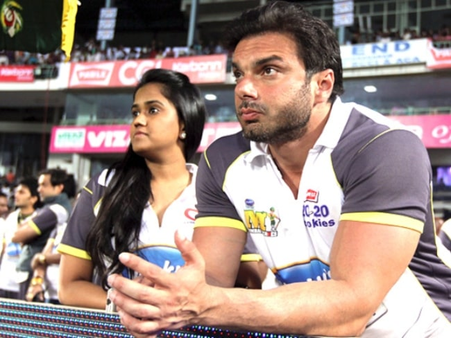 Sohail Khan and sister Arpita Khan pictured while watching CCL2, India 2011