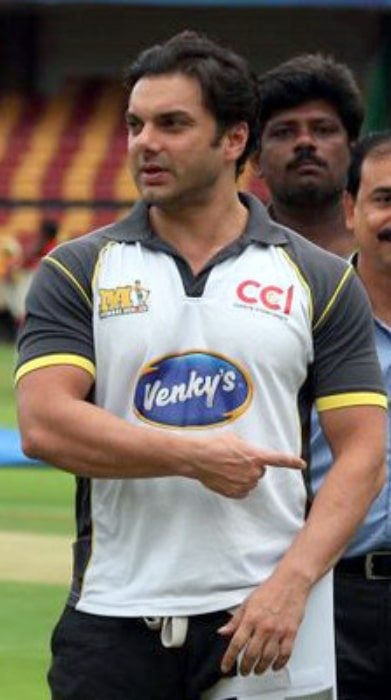 Sohail Khan as seen while playing for Mumbai Heroes at Celebrity Cricket League