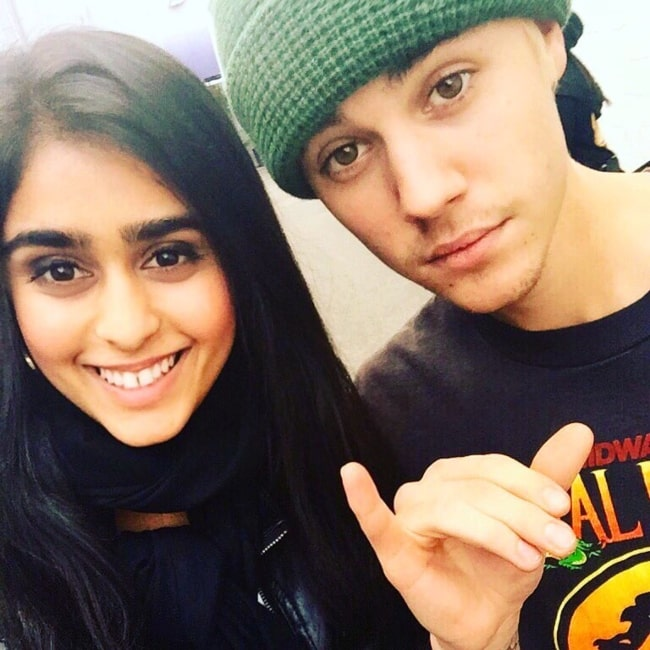 Sonika Vaid as seen in a selfie that was taken with fellow singer and songwriter Justin Bieber in May 2016