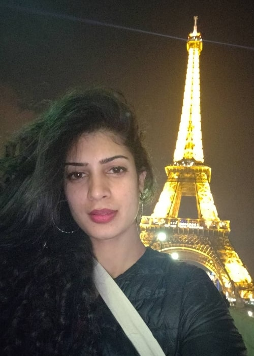 Tina Desai as seen while taking a selfie in Paris, France with the Eiffel Tower in the backdrop