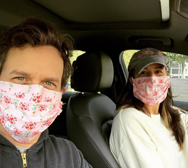 Tom Everett Scott as seen while taking a car selfie with his wife in April 2020