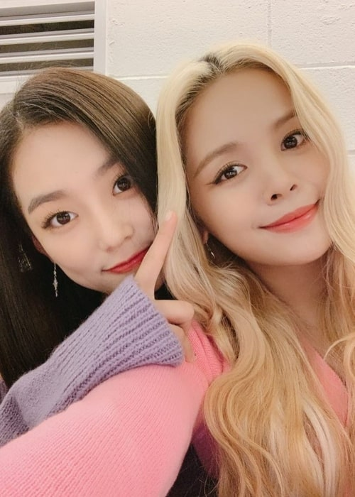 Yeeun (Left) smiling for a selfie alongside Sorn in October 2019