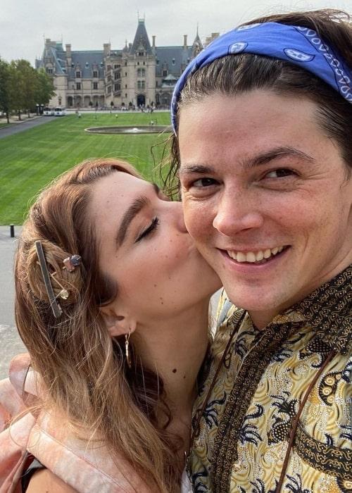 Adrian Blake Enscoe as seen in a selfie with his girlfriend Sydney Torin Shepherd in October 2020