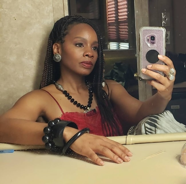 Anika Noni Rose as seen while taking a selfie in April 2020
