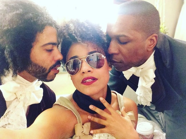 Ariana DeBose as seen while clicking a selfie with Daveed Diggs (Left) and Leslie Odom Jr.
