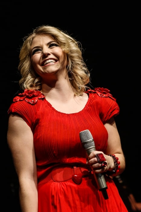 Beatrice Egli pictured while performing in October 2013