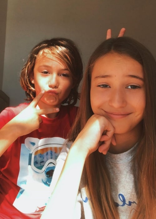 Brinley Rich as seen in a selfie that was taken with her brother Sebi Rich in February 2020