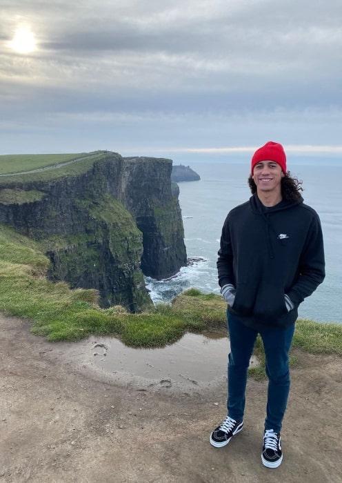 Cole Tucker enjoying himself in the windy city of Galway in Ireland in November 2019