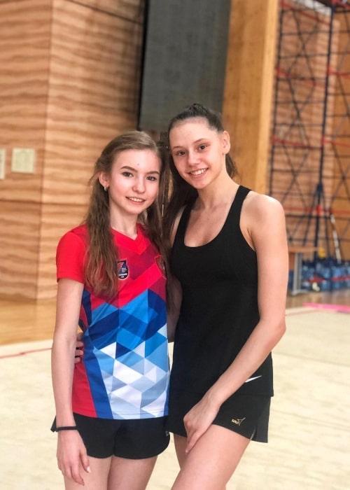 Daria Usacheva as seen in a picture with rhythm gymnast Daria Trubnikova in June 2020
