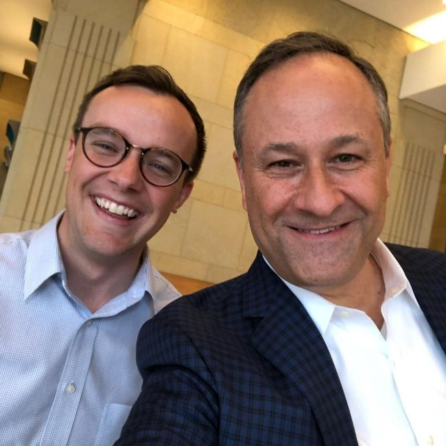 Doug as seen taking a selfie with Chasten Buttigieg in April 2020