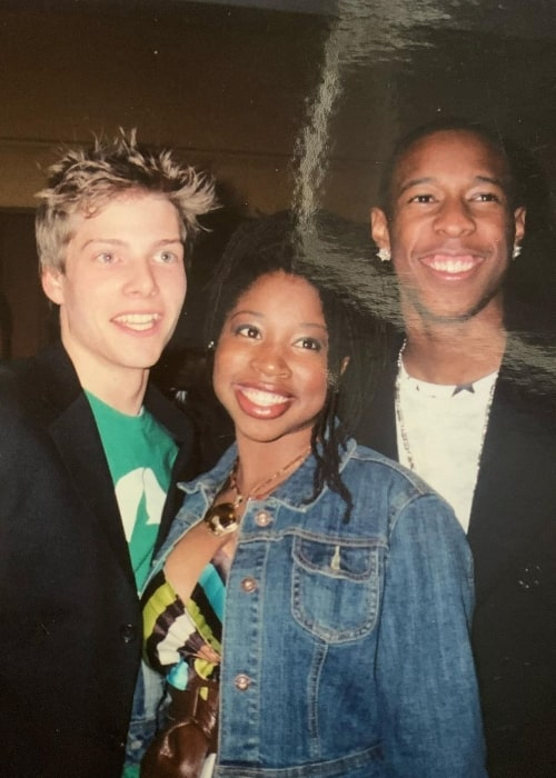 Giovonnie Samuels as seen while smiling in a picture alongside Hunter Parrish (Left) and Deance' Wyatt at the 'Freedom Writers' movie premiere