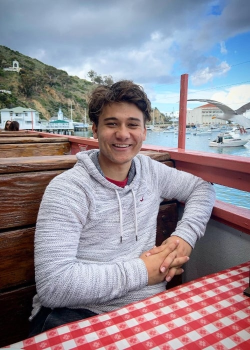 Grant Durazzo as seen while smiling for a picture in Avalon, California in March 2020