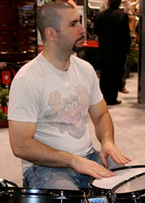 John Dolmayan as seen while trying out some gear at the LP booth during NAMM 2009