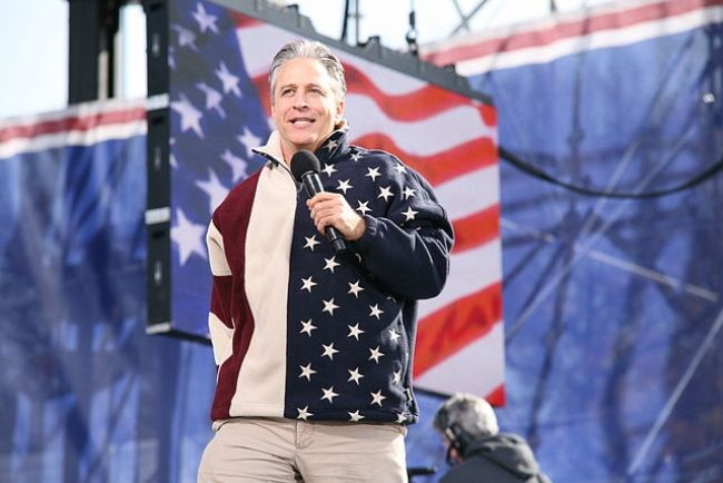 Jon Stewart seen speaking at a rally in 2010