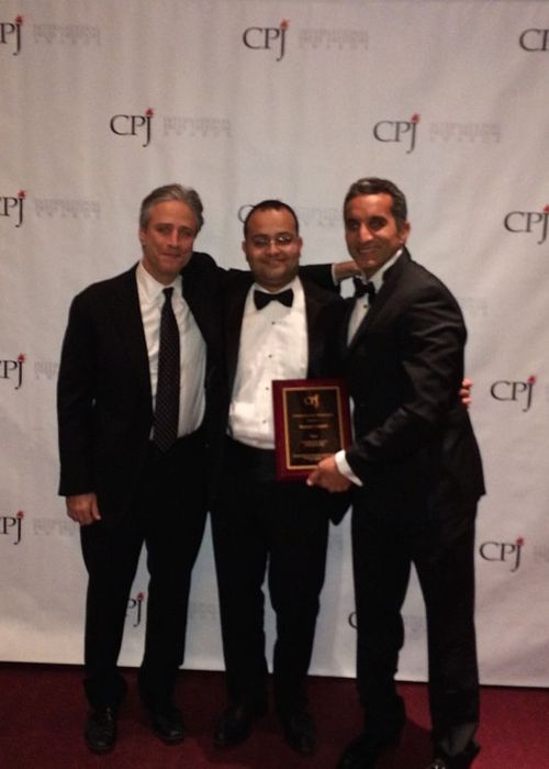 Jon as seen with Ahmed Abbas and Bassem Youssef at the CPJ Awards in 2013