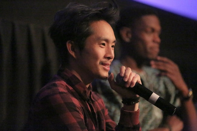 Justin Chon pictured while speaking about his film 'Gook' at the Montclair Film Festival 2017 in New Jersey