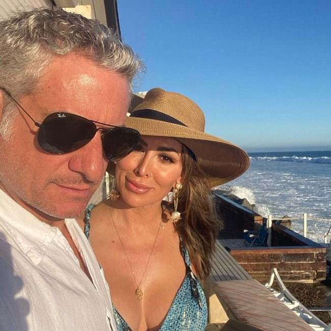 Kelly Dodd smiling in a selfie alongside Rick Leventhal in California, United States