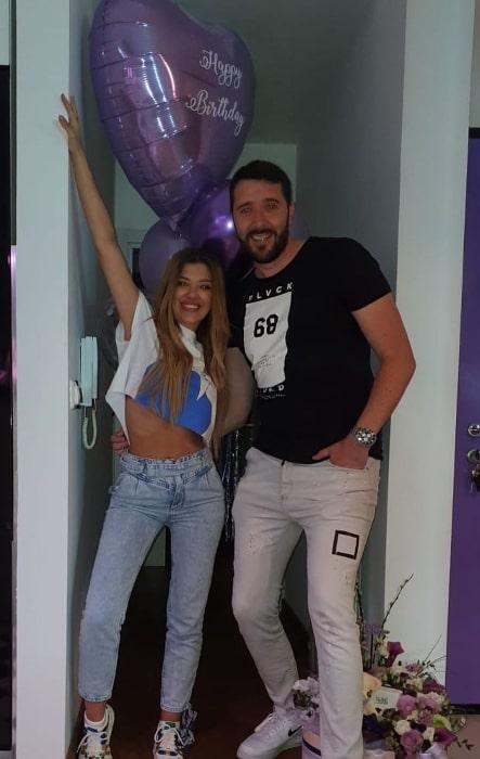 Kija Kockar smiling in a picture alongside Goran Leka Lecic in an Instagram post in Zvezdara, Belgrade in May 2020
