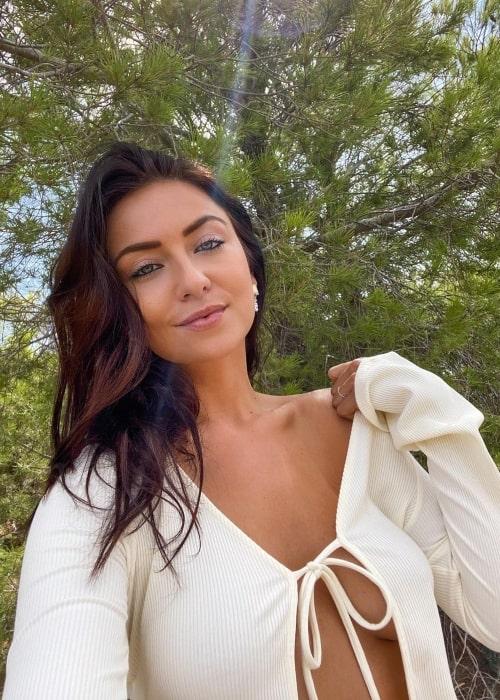 Lydia Farley as seen in a selfie that was taken in Ibiza, Spain in October 2020
