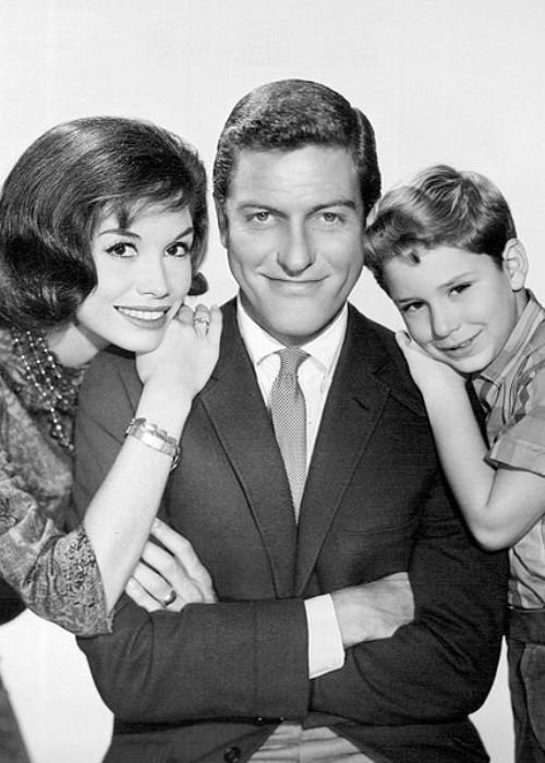 Mary Tyler Moore, Dick Van Dyke, and Larry Mathews as their characters on The Dick Van Dyke Show