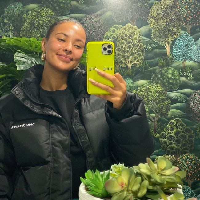 Maya Jama in October 2020 feeling good after having a self care day